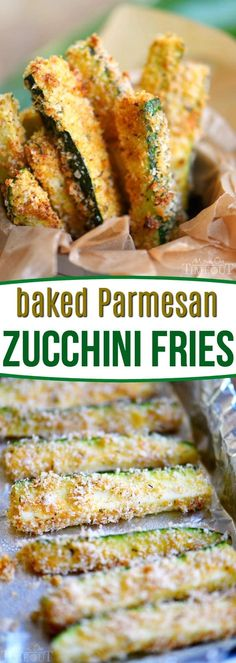 Your new favorite way to eat zucchini! These Baked Parmesan Zucchini Fries are loaded with flavor and baked to golden perfection! The perfect way to use up your summer bounty! // Mom On Timeout baked zucchini fries recipe veggies Side Dish Recipes, Vegetable Recipes, Vegetarian Recipes, Cooking Recipes, Healthy Recipes, Vegetable Appetizers, Vegetable Snacks, Easy Recipes, Zucchini Pommes