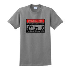 WARNING If Zombies Chase Us Im Tripping You Short Sleeve T-Shirt Brains Dead Apocalypse Undead Walking Eat Flesh Funny Rescue Squad Humans T-Shirt 3XL Sport Grey