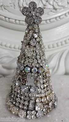 Vintage SOLID  Rhinestones JEWELRY cone shaped CHRISTMAS Tree *~*BEAUTY  in Home & Garden, Home Décor, Other Home Décor | eBay