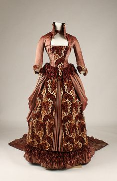 Brocade and satin gown with chenille fringe trim (front), American, ca. 1879.