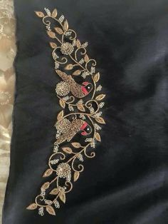 Handmade Embroidery Designs for Sarees . 59 Fresh Handmade Embroidery Designs for Sarees . Zardosi Embroidery, Hand Embroidery Dress, Embroidery Works, Couture Embroidery, Embroidery Motifs, Embroidery Suits, Beaded Embroidery, Embroidery Fashion, Simple Blouse Designs