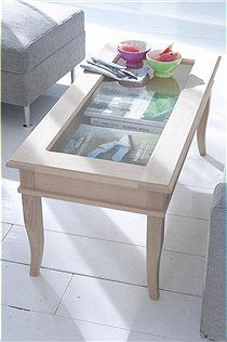 Small coffee table with glass storage