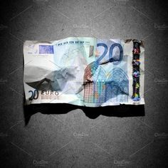 Financial crisis concept - crumpled 20 euro banknote on gray background Business Photos, Credit Card Offers, Gray Background, Euro, Concept, Grey, Banknote, Mani, Gray