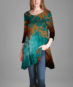 Look what I found on #zulily! Teal & Rust Floral Flowy Three-Quarter Sleeve Tunic - Plus #zulilyfinds