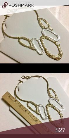 "Matt Gold/Silver Costume Bib Necklace Spotted textured organic shape bib necklace in gold/silver Matt color. Approx. 18""   Lead / Nickel compliant Jewelry Necklaces"