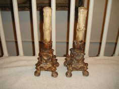 Antique Candle Stick Holders-Victorian Gothic Candle Holders-Unusual Metal Base