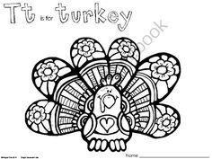 FREE T is for Turkey Coloring Pages - Great for Thanksgiving from WingedOne on TeachersNotebook.com - (2 pages) - Fun turkeys to color for the letter T and Thanksgiving!