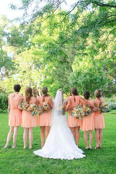 peach bridesmaids dresses #bridesmaids #peachwedding #weddingchicks http://www.weddingchicks.com/2014/03/26/peach-wedding-in-colorado-wine-country/