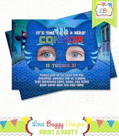 Pj Masks Invitation Super Hero Birthday by lovebuggydesigns