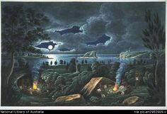 Joseph Lycett, Corroboree around a camp fire