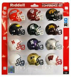 Big Ten Conference Mini Football Helmet Set by Unknown. $22.95. The helmets included in the brand new Riddell official licensed sports memorabilia collectible Big Ten Conference Mini Football Helmet Set are 3 inches shorter in height than Riddell officially licensed sports memorabilia collectible college plastic mini VSR4 replica football players playing helmets. Each Pocket Size Helmet in the Big Ten Conference Mini Helmet Set Team Color Features: Official te...