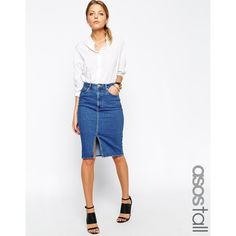 ASOS TALL Denim Split Front Midi Pencil Skirt in Midwash Blue (747.090 IDR) ❤ liked on Polyvore featuring skirts, blue, high waisted denim skirt, knee length denim skirt, denim skirt, high waisted midi skirt and white pencil skirt