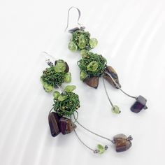 Green wire earrings with peridot and tiger eye stones #peridot #tigereye #greekdesigners #greekjewelry #green #maria_kanale #statement earrings Peridot Earrings, Lace Earrings, Yellow Earrings, Statement Earrings, Silver Earrings, Drop Earrings, Silver Pearls, Silver Roses, Purple Daisy