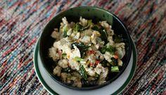 Spicy tofu in coconut cream (Bicol Express-style)