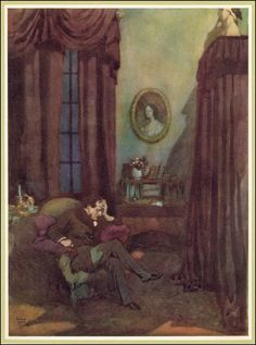 """The Raven."" The Poetical Works of Edgar Allan Poe Illustrated by Edmund Dulac. 1919."