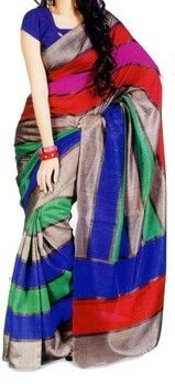 Krazzy2buy Multi Coloured Bhagalpuri Silk Printed Sarees Silk Sarees