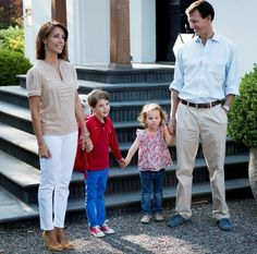 Prince Joachim, Princess Marie, Prince Henrik and Princess Athena on Prince Henrik's first day of school, 2015