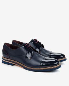 Textured leather derby shoes - Dark Blue | Footwear | Ted Baker UK