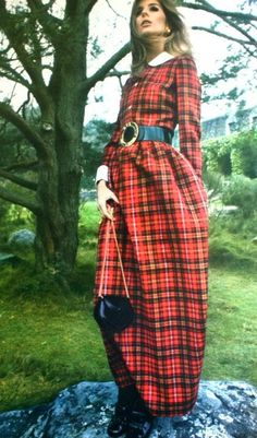 Magdorable!: Jill Kennington is wearing a long tartan dress by Harry Lans, Marie Claire (France) December 1967