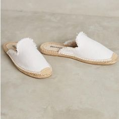 Soludos White Frayed Espadrille Loafer Mule