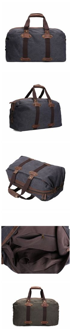 "ROCKCOW Waxed Canvas Travel Duffle Bag, Holdall Luggage, Overnight Bag AF15 Model Number: AF15 Dimensions: 17.7""L x 6.7""W x 12.6""H / 53cm(L) x 23cm(W) x 28cm(H) Weight: 3.3lb / 1.5kg Hardware: Brass H"