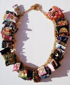 Necklace made of ribbon bits.