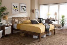 Baxton Studio Daylan Solid Walnut Wood Slatted Queen Size Platform Bed