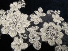 Venice Ivory Lace Appliques  for garter bridal by gebridal on Etsy