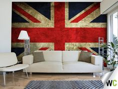 A vintage wall mural of the Union Jack!