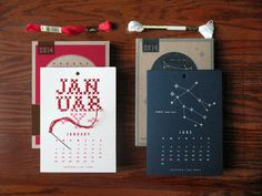 2014 Year in Stitches Calendar Kit. Cross stitch or Zodiac.
