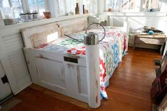 salvaged doors repurposed into daybed