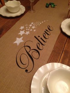 "Burlap Table Runner 12"", 14"", or 15"" wide with Believe & Stars - Christmas runner Holiday decorating Home decor Party runner by CreativePlaces on Etsy"