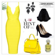 """""""Yellow night!"""" by mireille-a ❤ liked on Polyvore featuring Fallon, Harrods, JustFab, Dolce&Gabbana and Roberto Cavalli"""