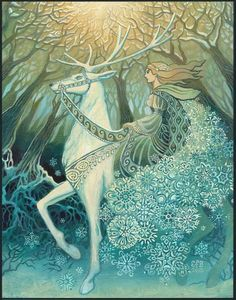The Snow Queen by Emily Balivet ~ Mythological Goddess Art  I like the starry snowflakes