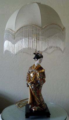 BEAUTIFUL!  Geisha Lamp with Shade Vintage Asian Porcelain by MollyPopVintage. $180.00, via Etsy.