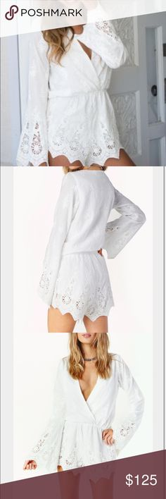 "Stone Cold Fox Jumper Lovely white cotton romper with beautiful embroidery detail. Size xs/s...fits like an extra small, ideal for 5'5"" or shorter gals! Brand new, with tags, never wore it because it's too small for me. I'm 5'5"" 120 lbs, so of you are smaller then me, this will look adorable on you!! Stone Cold Fox Other"