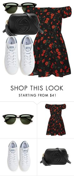 """Untitled #4422"" by beatrizvilar ❤ liked on Polyvore featuring Ray-Ban, Topshop, adidas and Gucci"