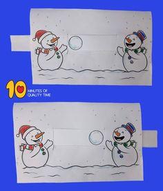 Snowmen Playing With a Snowball - Bastel-Ideen Winter Crafts For Kids, Winter Kids, Winter Art, Winter Theme, Winter Christmas, Diy For Kids, Christmas Crafts, New Year's Crafts, Diy And Crafts