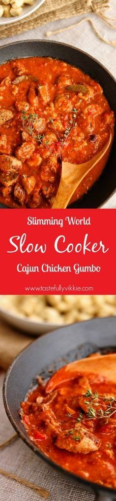 Slimming World Slow Cooker Cajun Chicken Gumbo - Tastefully Vikkie. Its syn free depending on what sausages you use! Slow Cooker Slimming World, Slimming World Dinners, Slimming World Recipes Syn Free, Slimming Eats, Slimming World Chicken Recipes, Crock Pot Recipes, Slow Cooker Recipes, Cooking Recipes, Crock Pots