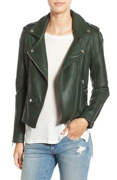 BLANKNYC 'Easy Rider' Faux Leather Moto Jacket in green at Nordstrom.com $98