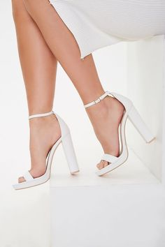 Product Name:Faux Leather Open-Toe Heels, Category:Shoes, Wedding Shoes Bride, Wedding Shoes Heels, Prom Heels, Bride Shoes, High Heels Boots, Ankle Strap Heels, Ankle Straps, Homecoming Shoes, White Heels
