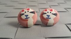 Items similar to Cat Print Fabric Covered Button Post Earrings Inch] on Etsy Fabric Covered Button, Button Earrings, Printing On Fabric, Jewellery, Trending Outfits, Unique Jewelry, Handmade Gifts, My Style, Cats