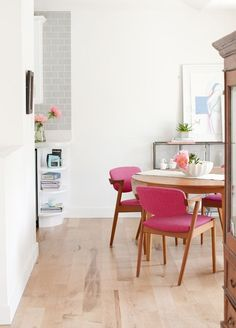 Bright pink chairs.: