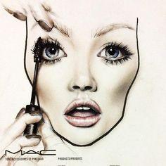 Mac face chart by amalia bot make-up portfolio makeup face c Mac Makeup, Beauty Makeup, Drugstore Beauty, Makeup Tips, Mac Face Charts, Makeup Illustration, Makeup Face Charts, Makeup Drawing, Makeup Lessons