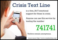 Keep your community strong by helping people in need find support. Crisis Text Line is a service you can recommend to friends and family going through emotional challenges. This service is free and anonymous. Anyone who has a cell phone can text 741741 and find emotional help through a trained volunteer.