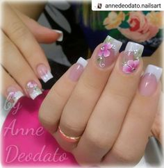 Photo shared by Clique Unhas on December 2018 tagging Image may contain: text that says 'annedeodato. French Manicure Nails, French Nails, Nail Nail, Bride Nails, Wedding Nails, French Nail Designs, Nail Art Designs, Cute Nails, Pretty Nails