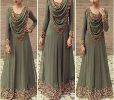 d by me and made by DOLI came out spot on! I will upload more images In'Sha'Allah! Antique scalloped cutwork design on khakee green material! Went for a very elegant look! Indian Gowns, Pakistani Dresses, Indian Outfits, Muslim Fashion, Indian Fashion, Stylish Dresses, Fashion Dresses, Moda Indiana, Moda Chic