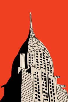 """Chrysler, Marz jr., acrylic and marker and paper, 44x30"""", 2010?. The artist's interest in pop culture and iconic imagery is highlighted in this work. His building portraits created in a simplistic childlike style are nostalgic and could be described as """"old school"""". This image of the Chrysler building, is an iconic image of New York. His work speaks to the modern history of America. His work is very culturally specific. What makes an image iconic? What are some iconic buildings from around…"""