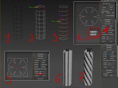 Как сделать канат в 3ds max? 1. Создаем цилиндр с 6 сегментами сторон. Сегменты высоты на усмотрение. Преобразуем его в Editable Poly. Удаляем полигоны крышки и дна цилиндра. 2. Выделяем любой ряд вертикальных ребер (Edges) цилиндра 3. С помощью инструмента loop в свойствах ребер (панель справа) выделяем все вертикальные ребра. 4. С помощью инструмента Extrude (панель справа) создаем такую форму объекта (см.рис.4) 5. Затем выделенные ребра делаем жесткими (Crease: 1,0), чтобы они не подверг