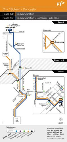 207 - City - Doncaster Shoppingtown via Kew Junction (from 27/07/2014) - 58 stations